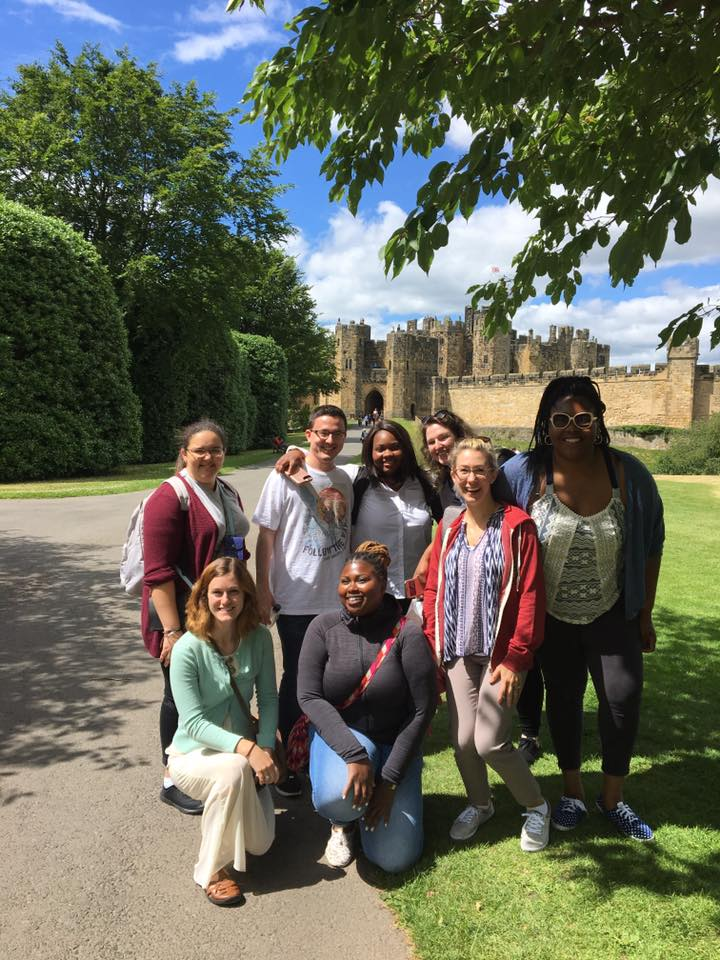 Students in front of Ainwick Castle